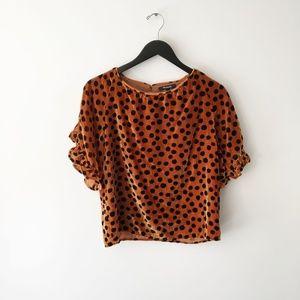 MadVelvet Memento Ruffle Sleeve Leopard Top